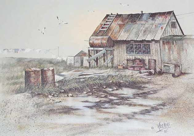 Archie Barnes 1983 Dwelling on the Tundra print, Bethel AK