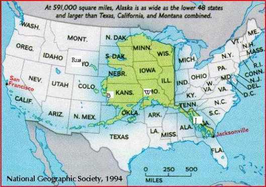 Compare Alaska to lower 48 distances