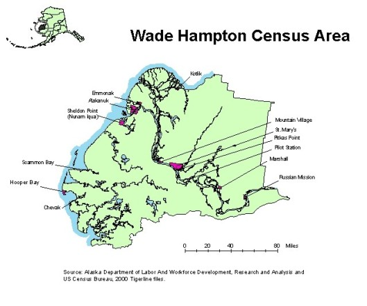map of Wade Hampton Census Area