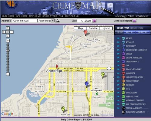Anchorage map of April 1, 2009 reported crimes